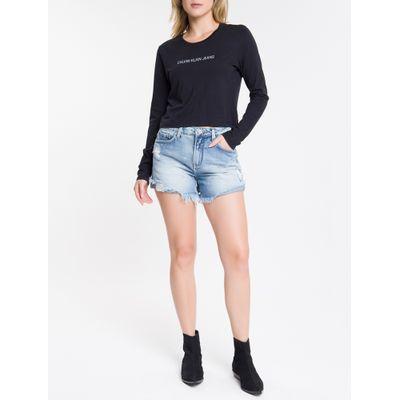 Shorts Jeans Feminino Five Pockets Cintura Baixa Azul Claro Calvin Klein