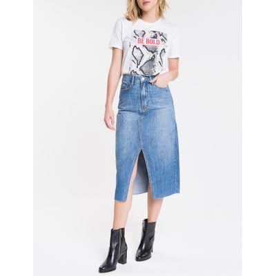 Saia Jeans Feminina Midi Cintura Alta Azul Médio Calvin Klein