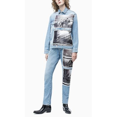 Jaqueta Jeans Feminina Andy Warhol Rodeo Azul Claro Calvin Klein