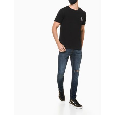 Camiseta Masculina Logo Mirror Preta Calvin Klein Jeans