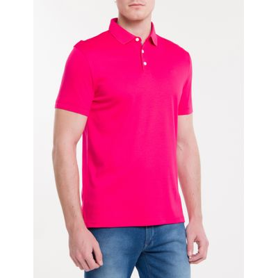 Polo Basica Liquid Cotton Bordado - Rosa Escuro