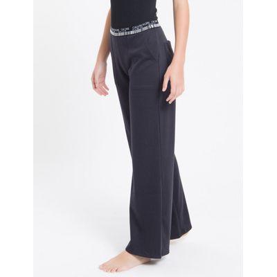 Calça Pantalona Suedine Ck Barcode Loung - Preto