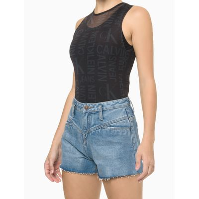 Body Feminino Tule Full Print CK Preto Calvin Klein Jeans