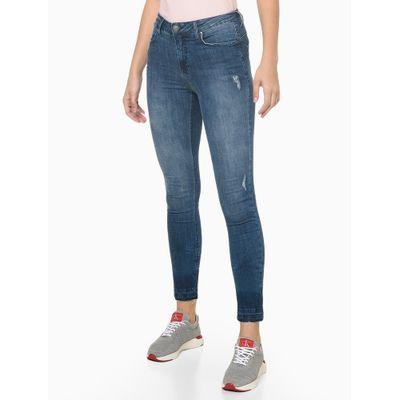Calça Jeans High Rise Body Skinny Puídos - Azul Médio