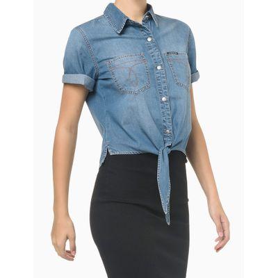 Camisa Jeans Manga Curta Amarração - Azul Médio