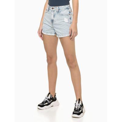 Shorts Jeans Com Puidos - Azul Claro