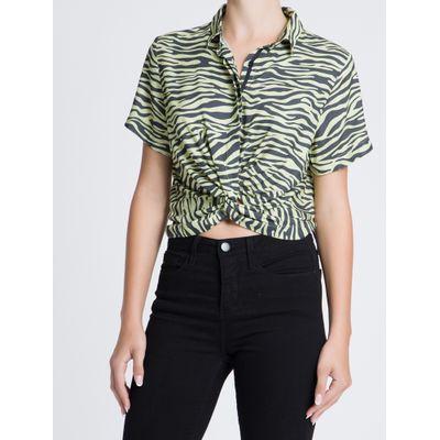 Camisa Mc Full Visc Nó Zebra - Amarelo Claro