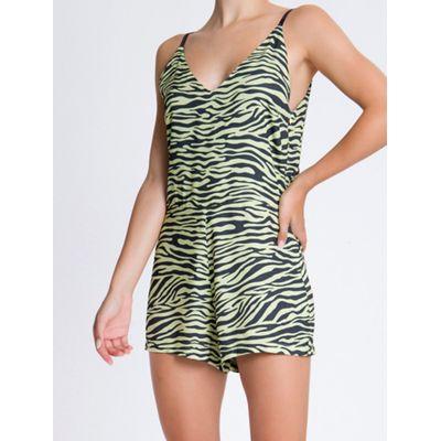 Macacao Sm Curto Visc Full Zebra - Amarelo Claro