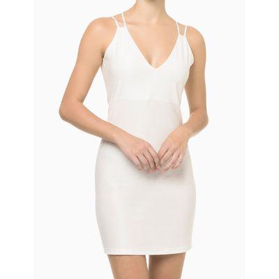 Vestido Malha Curto Liso Alc Cruzadas - Nude