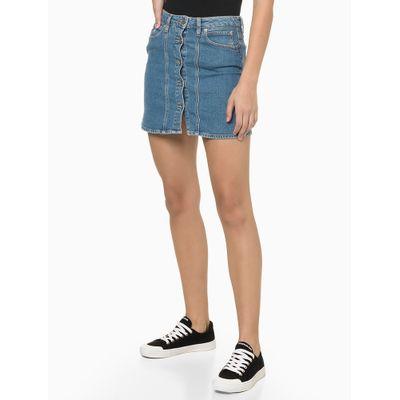 Saia Jeans Em A Six Pckts Bordado Ck1 - Azul Médio