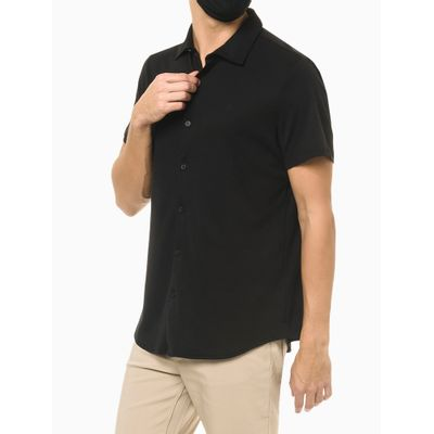 Camisa Manga Curta Em Liquid Cotton - Preto
