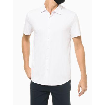 Camisa Manga Curta Em Liquid Cotton - Branco