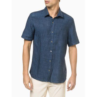 Camisa Mc Regular Cannes Linen - Azul Marinho
