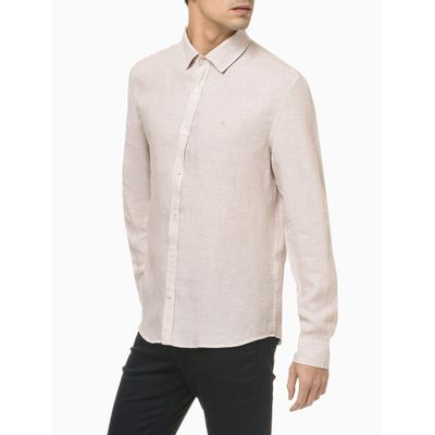 Camisa Mg Regular Linen - Cáqui