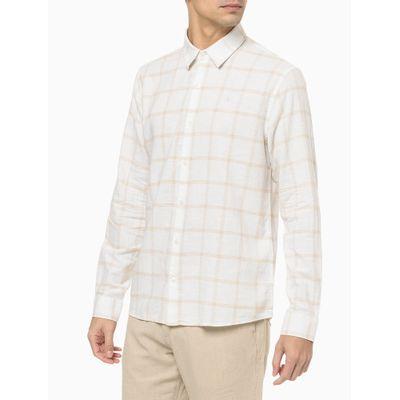 Camisa Ml Regular Cannes Xadrez Linen - Branco
