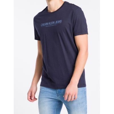 Camiseta Mc Regular Logo Meia Rolo Gc - Azul Marinho