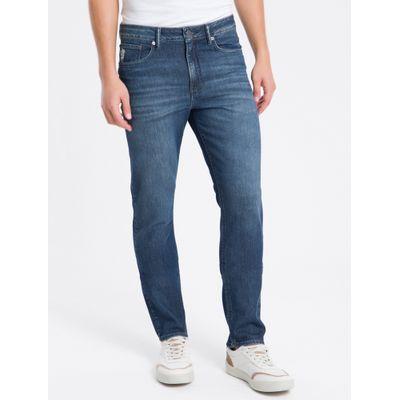 Calça Jeans Masculina Five Pockets Slim com Stretch Reta Cintura Regular Azul Marinho Calvin Klein