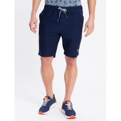 Bermuda Jeans Chino Elástico - Azul Marinho