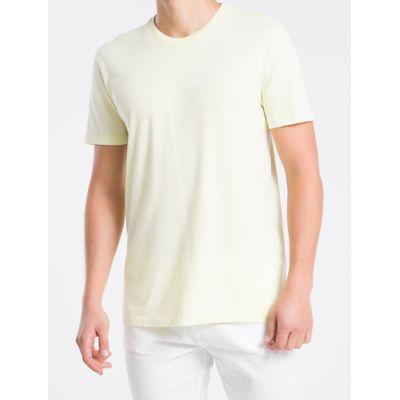 Camiseta Masculina Básica Silk Amarelo Claro Calvin Klein Jeans