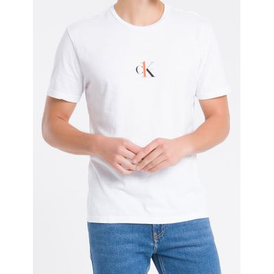 Camiseta Masculina Estampa CK One nas Costas Branca Calvin Klein Jeans