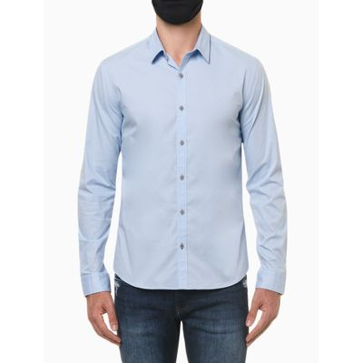 Camisa Ml Slim Liso Sbols N/D - Azul Claro