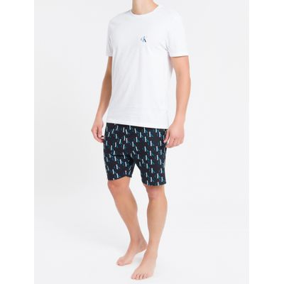 Pijama Masc Bermuda Digital Ck One Sleep - Preto