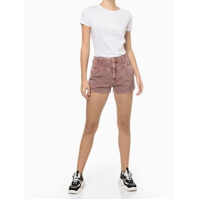 Blusa Feminina Básica Slim CK Branca Calvin Klein Jeans