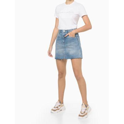 Blusa Básica Slim Embossed Branca Calvin Klein Jeans