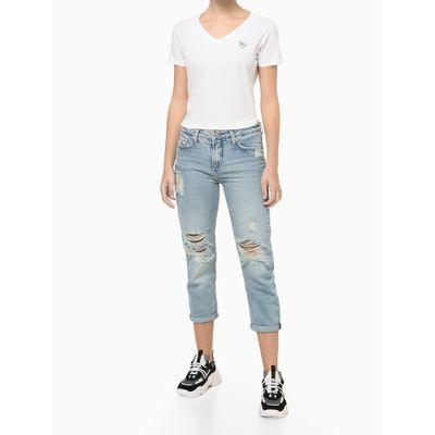 Blusa Feminina Slim CKJ Ômega Branca Calvin Klein Jeans