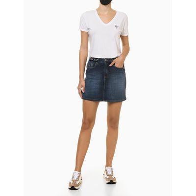 Saia Jeans Elástico Personalizado Cós - Azul Marinho