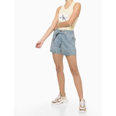Shorts Jeans Com Amarração Na Cintura - Azul Claro