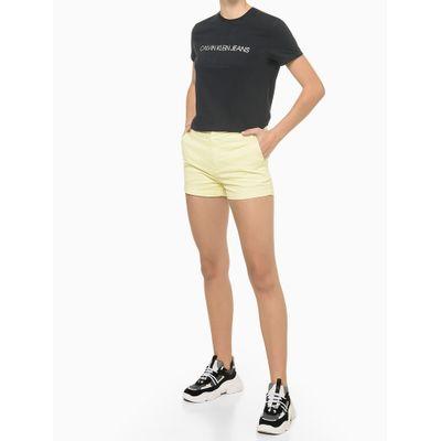 Shorts Justo Alg Básico Tinturado - Amarelo Claro