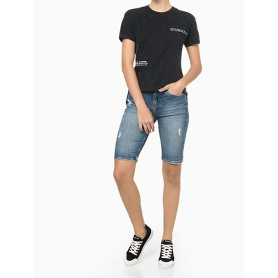 Bermuda Jeans Ciclista Com Puidos - Azul Marinho