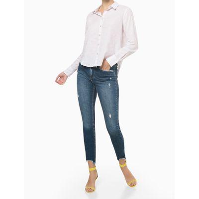 Calça Jeans High Rise Slim Sustentavel - Azul Médio