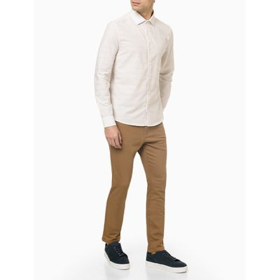Camisa Ml Slim Maquinetado Linen - Branco