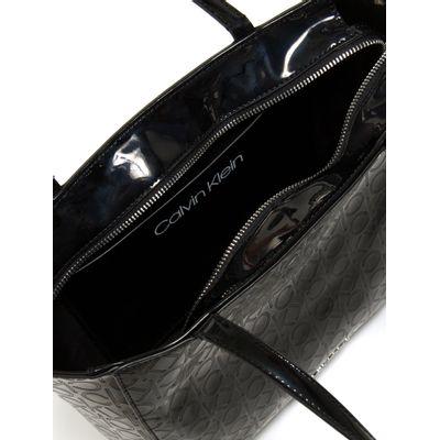Shopping Bag Verniz Logo Ck Must - Preto