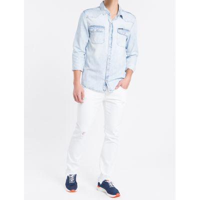 Camisa Jeans Manga Longa - Azul Claro