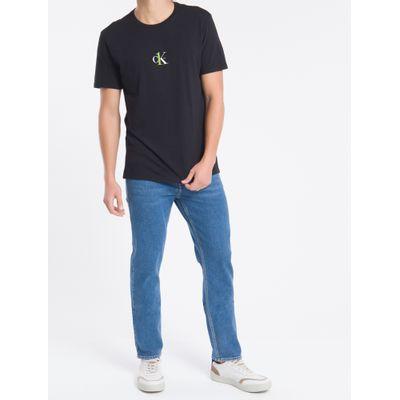 Camiseta Masculina Grafite CK One nas Costas Preta Calvin Klein Jeans
