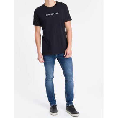 Calça Jeans Skinny Bordado Ck Bolso Rel - Azul Marinho