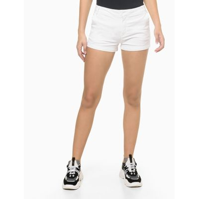 Shorts Justo Alg Básico Tinturado - Branco