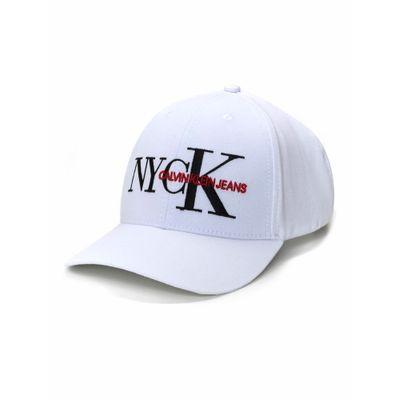 Bone Ckj Aba Curva 6 Gomos Lona Logo Fiv - Branco