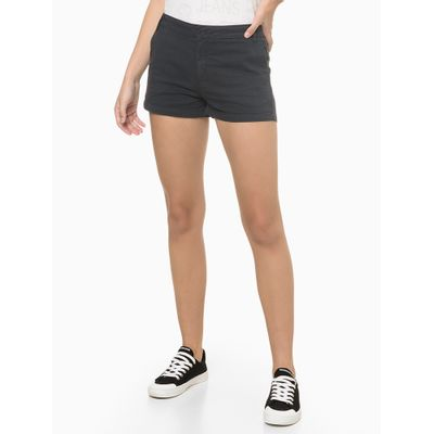 Shorts Justo Alg Básico Tinturado - Preto