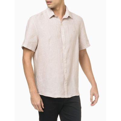 Camisa Mc Regular Cannes Linen - Cáqui
