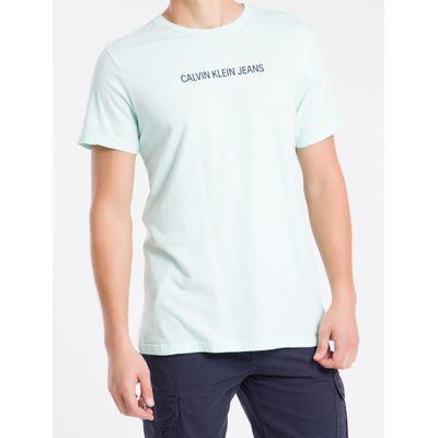 Camiseta Masculina Básica Logo Central Verde Claro Calvin Klein Jeans
