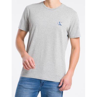Camiseta Masculina Logo no Peito Cinza Mescla Calvin Klein Jeans