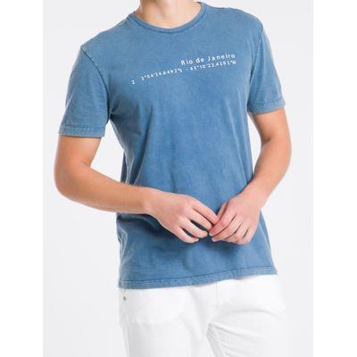 Camiseta Masculina Básica RJ Azul Médio Calvin Klein Jeans