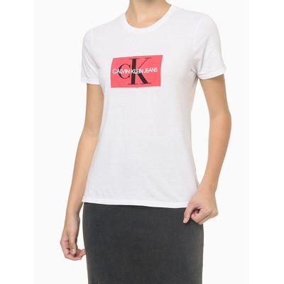 Blusa Feminina Logo Central Branca Calvin Klein Jeans