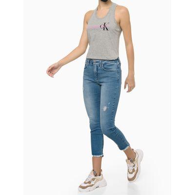 Blusa Regata Feminina Nadador CK Cinza Mescla Calvin Klein Jeans