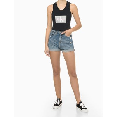 Blusa Regata Feminina Logo CK Preta Calvin Klein Jeans