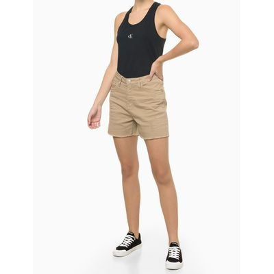 Blusa Regata Feminina Nadador Logo Prateado Preta Calvin Klein Jeans